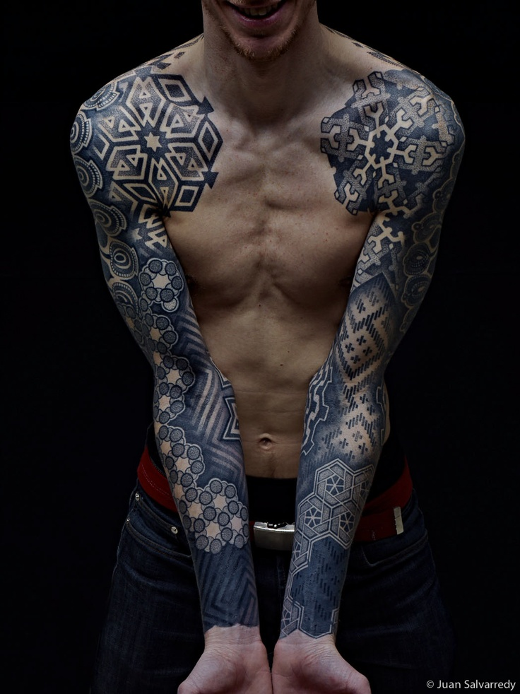 awesome-full-sleeve-pattern-tattoo